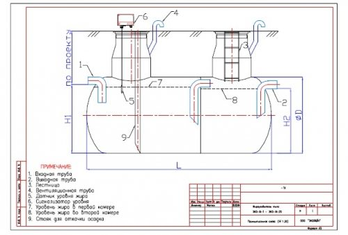 Чертеж канализационного сепаратора для частного дома.