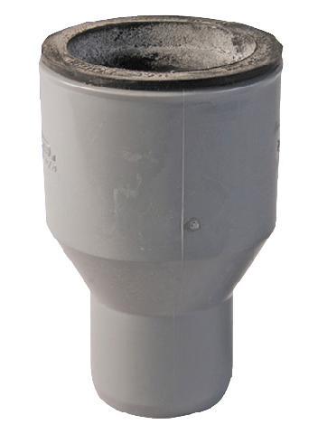 Этот переходник используется для соединения гладкой чугунной трубы с полимерным раструбом.