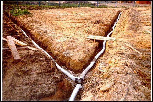 Горизонтальный тип дренажа — канализационные трубы уложены на гравий