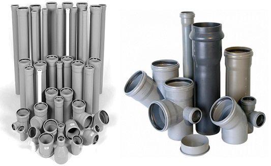 Изготовленные из ПВХ трубы и фасонина для внутренней канализации.