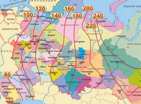 Изолинии глубин промерзания для европейской части страны.