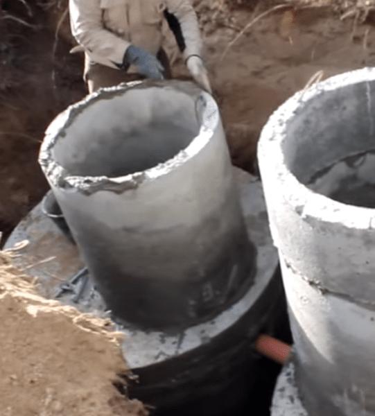 Монтаж бетонных горловин на резервуары.