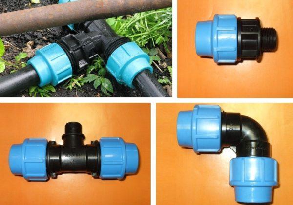 Монтаж трубопровода для полива.