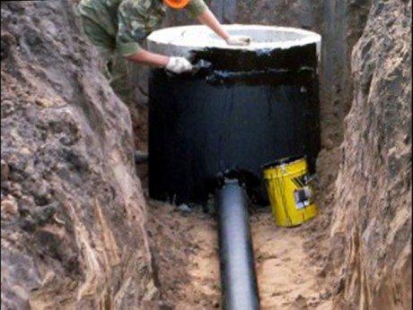 Наружная гидроизоляция сооружения выше точки входа канализационной трубы.