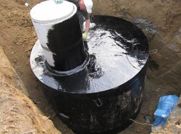 Обмазочная гидроизоляция битумной мастикой.