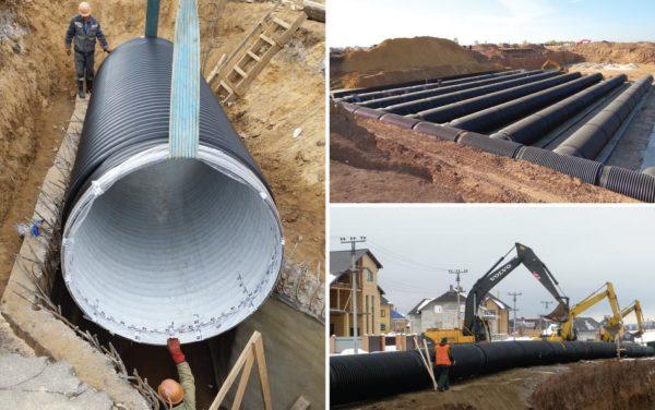 Применение канализационных труб Корсис для монтажа канализационных коллекторов.