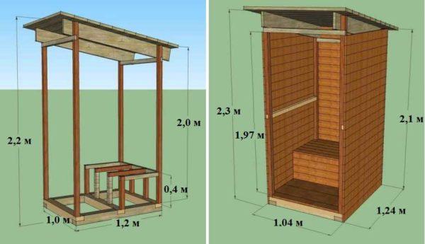 Пример проекта деревянного туалета с односкатной крышей