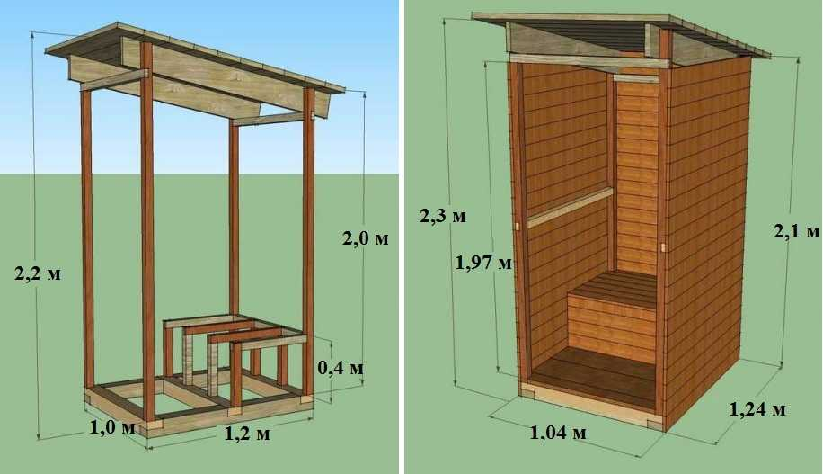 Схема деревянного туалета своими руками