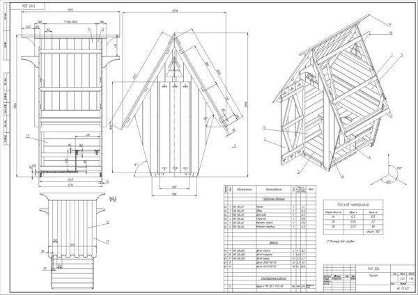 Проект деревянного туалета в виде теремка