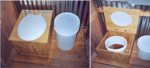Простейший торфяной биотуалет из фанерного ящика и пластикового ведра.
