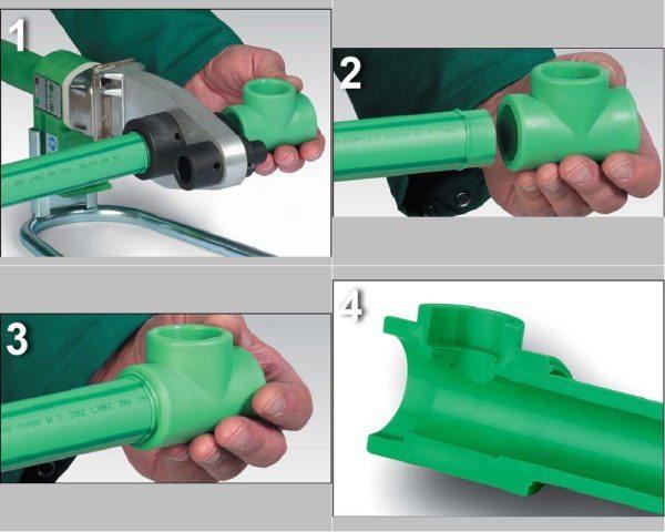 Раструбная сварка полипропиленовых труб. Соединение не уступает прочностью цельной трубе.