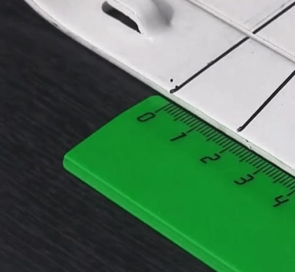 Разметка из расчета уклона желоба 2 мм