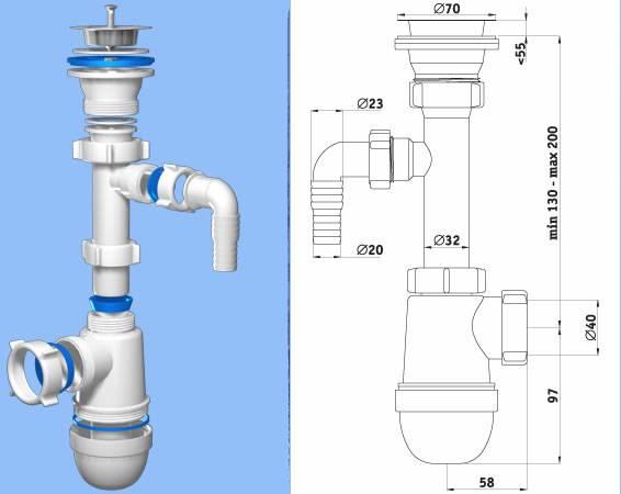 Схема сборки бутылочного сифона