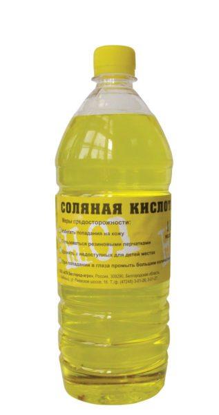 Соляная кислота. Упаковка - полиэтиленовая бутылка.