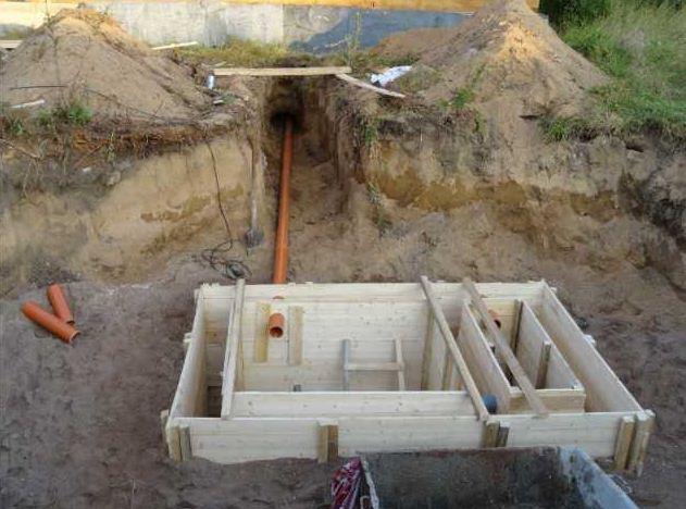 Установка опалубки для заливки бетонных стенок.