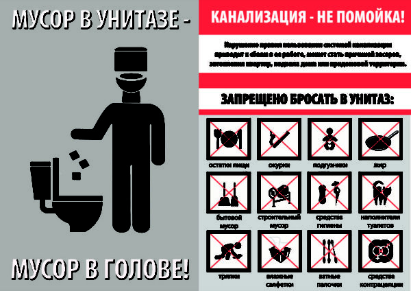В канализацию должно попадать лишь то, что может стать пищей для бактерий.