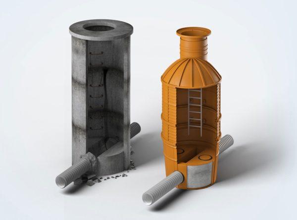Вместо тяжелых бетонных сооружений можно устанавливать относительно легкие и технологичные пластиковые изделия