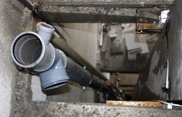 Замена канализационного стояка в перекрытии.